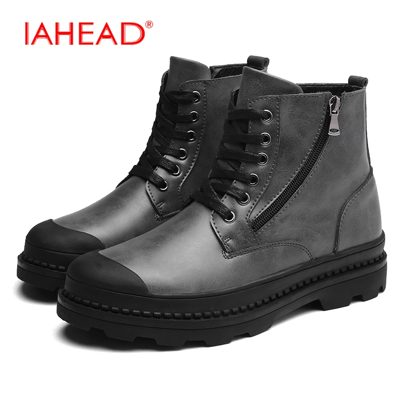 IAHEAD Men Boots Genuine Leather Casual Shoes Lace-Up Winter Shoes Men  High Quality Mens Tactical Boots botas hombre MU541 iahead men boots genuine leather flats new casual shoes lace up warm winter boots men plus size 38 48 rain shoes men mh586