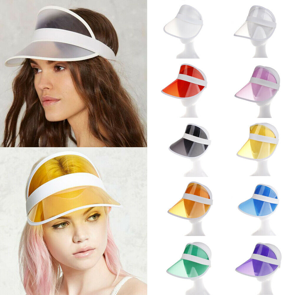 Hot Summer Candy Color Transparent Empty Top Plastic PVC Sunshade Hat Visor Caps Bicycle Sunhat Wholesale Beach Visor Cap