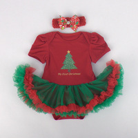 My First Christmas Costume Red Lace Baby Rompers Tutu Infant Party Dress Headband 2pcs Ropa Bebe