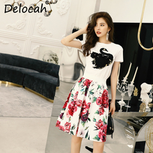 Delocah Summer Set Runway Fashion Designer Beading Embroidery Sequined short sleeve T-shirt+Floral Print Skirt Two Pieces