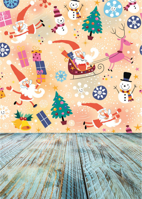 Christmas Background for Baby Photo Studio Props Vinyl Wooden Floor Cute Photography Backdrops 5x7ft or 3x5ft Jiesdx093