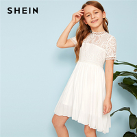 SHEIN Kiddie Guipure Lace Bodice Pleated Girls Party Dress 2019 Summer Short Sleeve Zipper Back Cute A Line Short Dresses