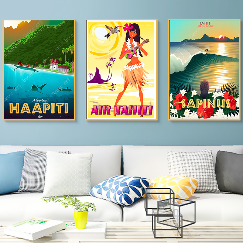 Canvas Painting Posters Wall-Stickers Tahiti Surfing Vintage Pictures Holiday Polynesia