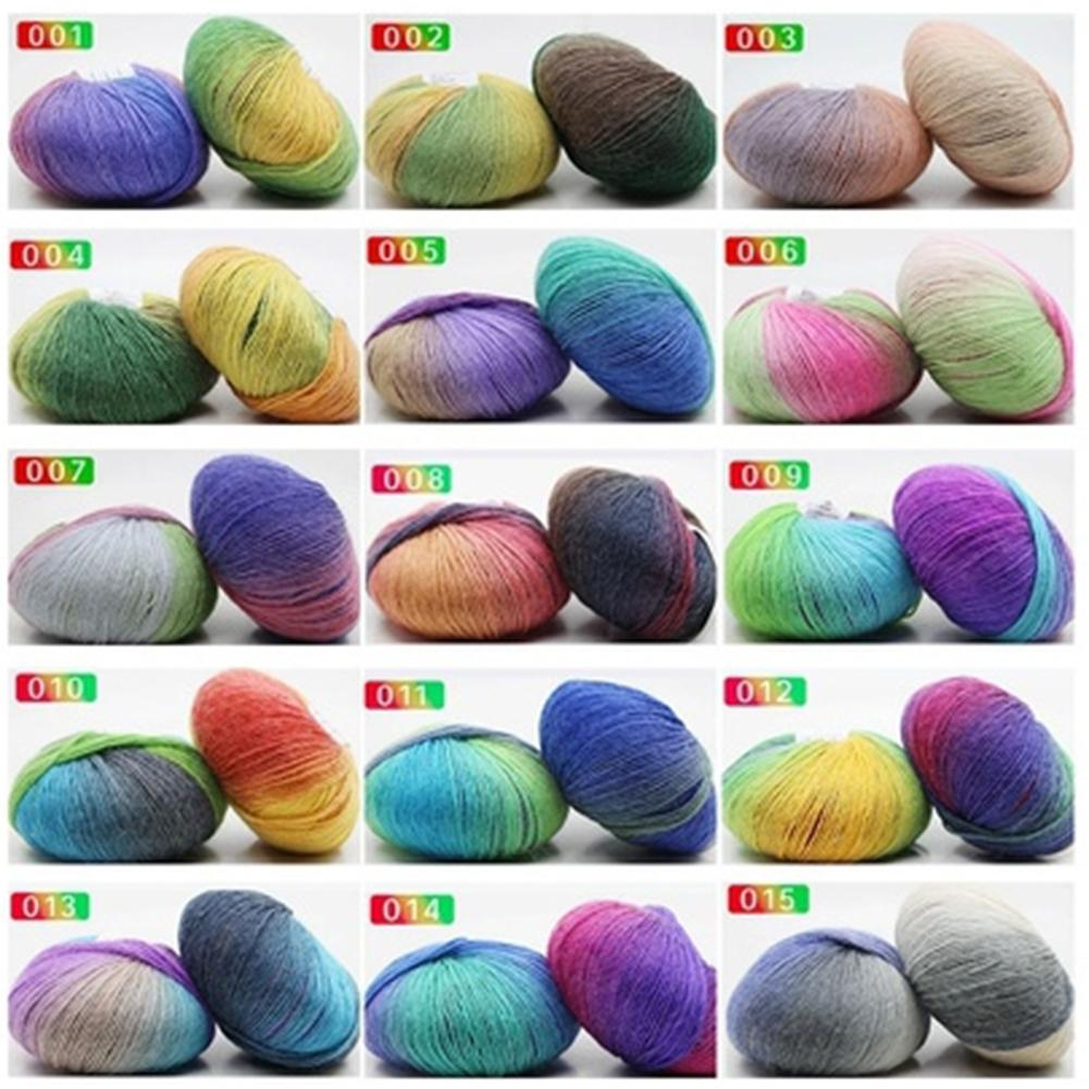 15 Color Rainbow Pure Wool Gradient Color Thick Needle Sewing Hook Shawl Hat Scarf Wool Knitting Yarn