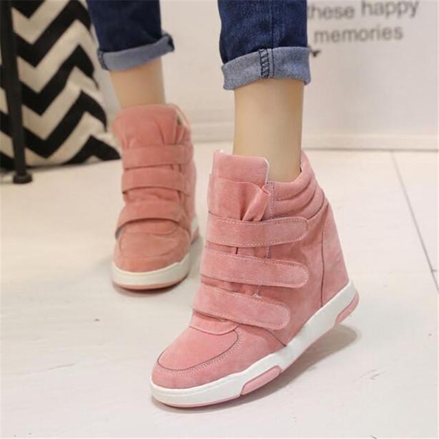 Plataforma Zapatos de Las Mujeres 2017 Del Otoño Del Resorte Coreano Ocultos Wedge Heel Flock Moda Casual Zapatos de Los Planos de la Mujer