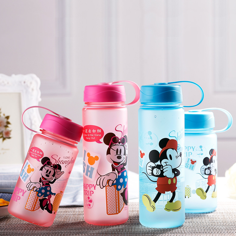 Disney cute cartoon animation children water cup sucker belt baby water bottle Baby Cup baby drink youthful cup 400 and 500 ml