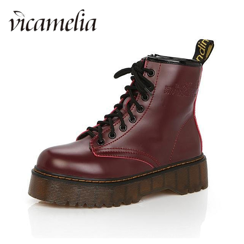 Vicamelia Thick Bottom Leather Ankle Boots Autumn Motorcycle Boots for Women Lace up Platform Winter Work Business Shoes 840