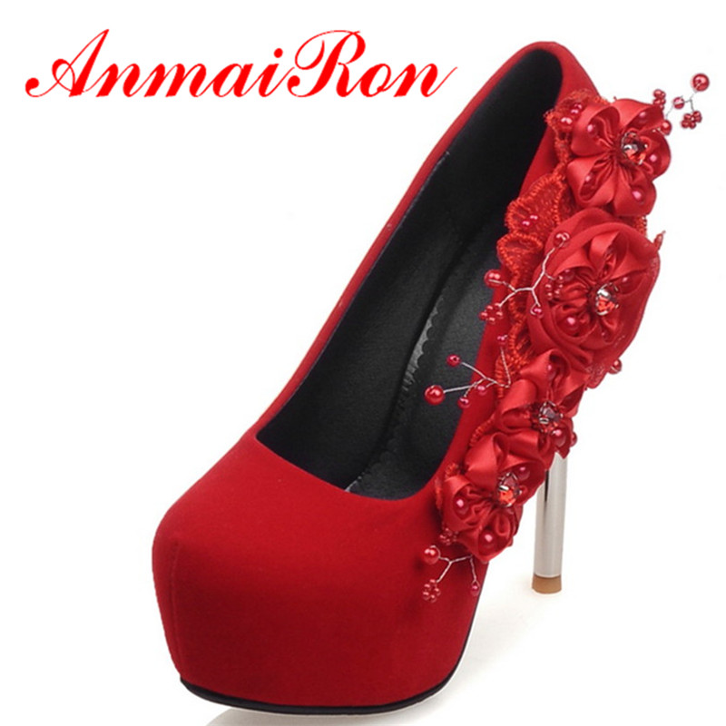 ФОТО ANMAIRON Womens Wedding High Heels Sexy Red Soft Leather Pumps Spring and Autumn Fashion Shoes Woman Red Flower Charm Size 34-42