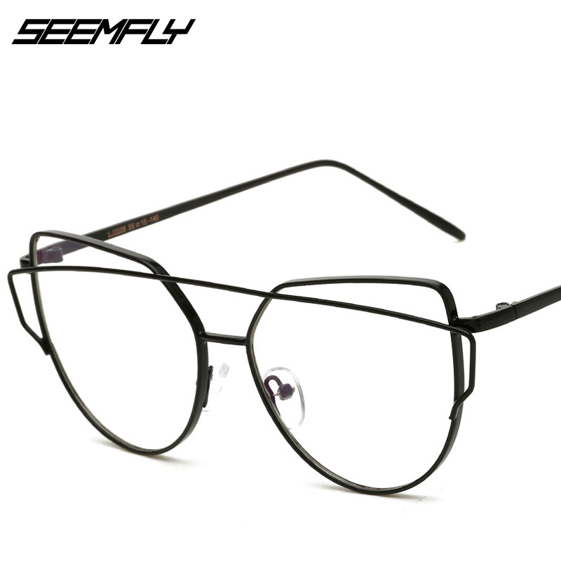 SEEMFLY Cat Eye Anti Blue Light Glasses Frame Fashion Women Double Beam Eyeglasses Men Luxury Metal Radiation Blocking Eyewear
