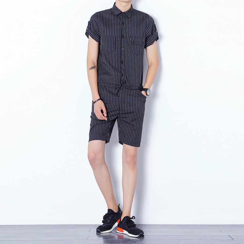 New Mens Cotton Denim Black Blue Stripe Jumpsuit Bib Overall Jeans Men Fashion Casual Male Denim Jumpsuit Short Trousers M-XL