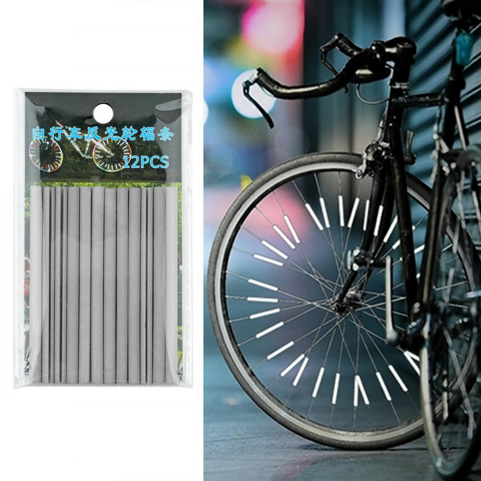 12pcs Bicycle Wheel Spoke Reflector Reflective Mount Clip Tube Warning Strip