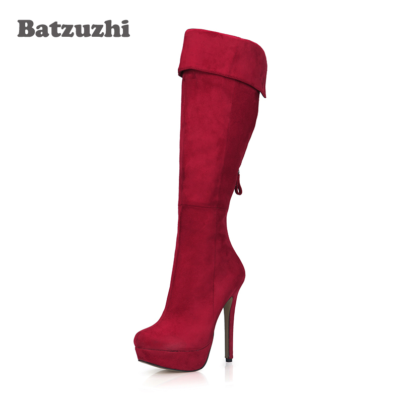 Italian Style Fashion Women Boots Ultra 14cm High Heels 3cm Platform Red Suede Leather Women Long Boots Winter Botas цена