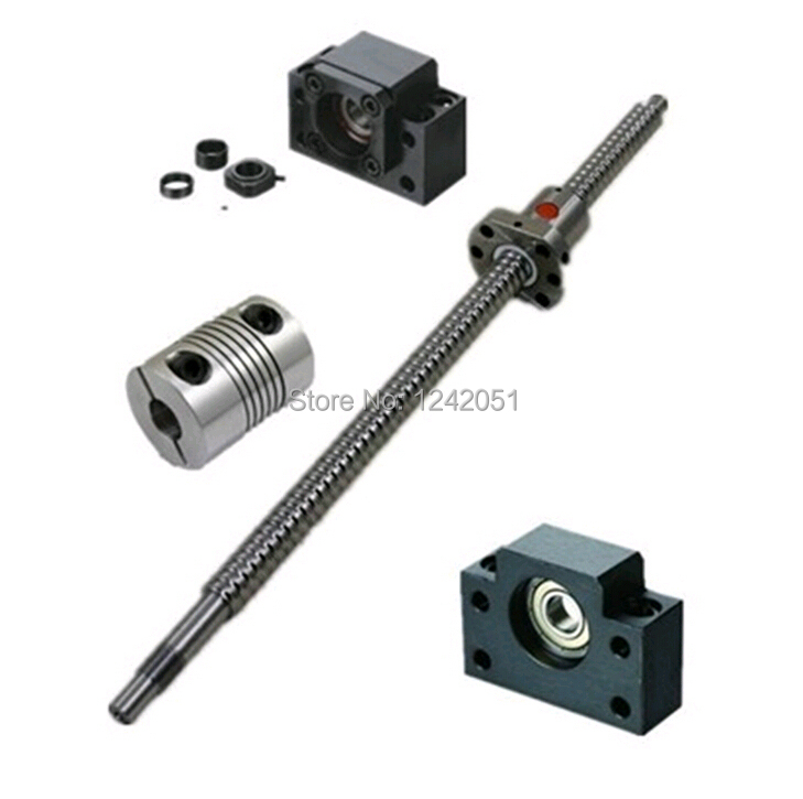 1set anti backlash 16mm ballscrew RM1605-750mm-C7+BKBF12 end support bearing CNC