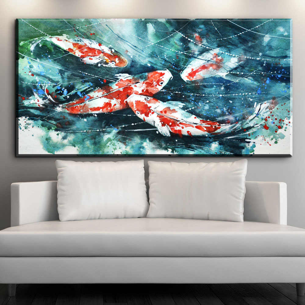 XX664  Large Wall Art Canvas Prints Chinese Calligraphy Painting Ink Koi Fish Pond Lotus Flower Picture Hall Living Room Decor