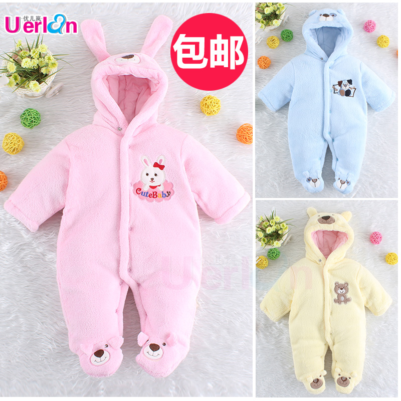 ФОТО Baby bodysuit autumn and winter thickening male thermal  newborn clothing clothes wadded jacket outerwear cotton-padded