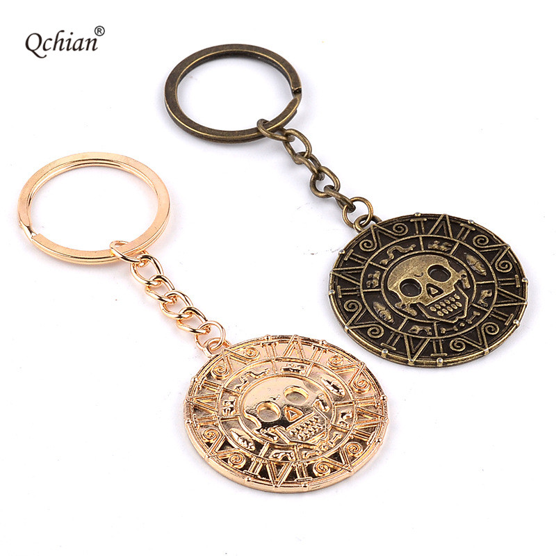 Pirates of the Caribbean Pioneer Aztec Coin Champagne Bronze Stainless Steel Decorative Pendant Specification 5*5cm Keychain