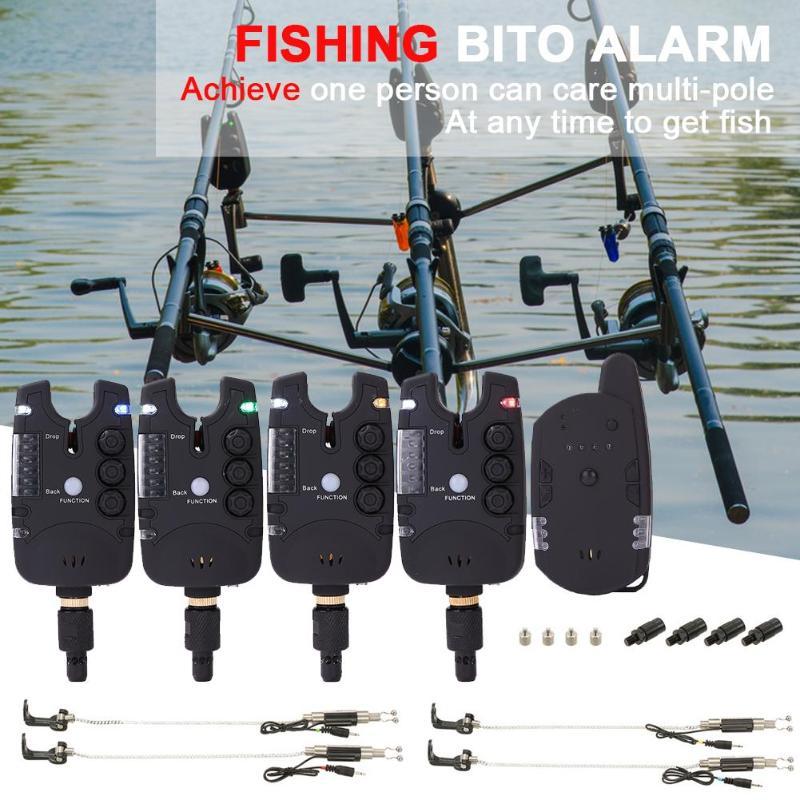 Alarme de pêche à distance sans fil électronique 4 LED Volume de tonalité réglable alarme de pêche résistant à l'eau