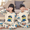 New 2016 Winter Children Fleece Pajamas Warm Flannel Sleepwear Girls Loungewear Coral Fleece Kids pijamas Homewear Winter Pyjama