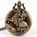 Vintage Knight Ride Horse Quartz Pocket Watch Necklace Pendant Mens Gift P93