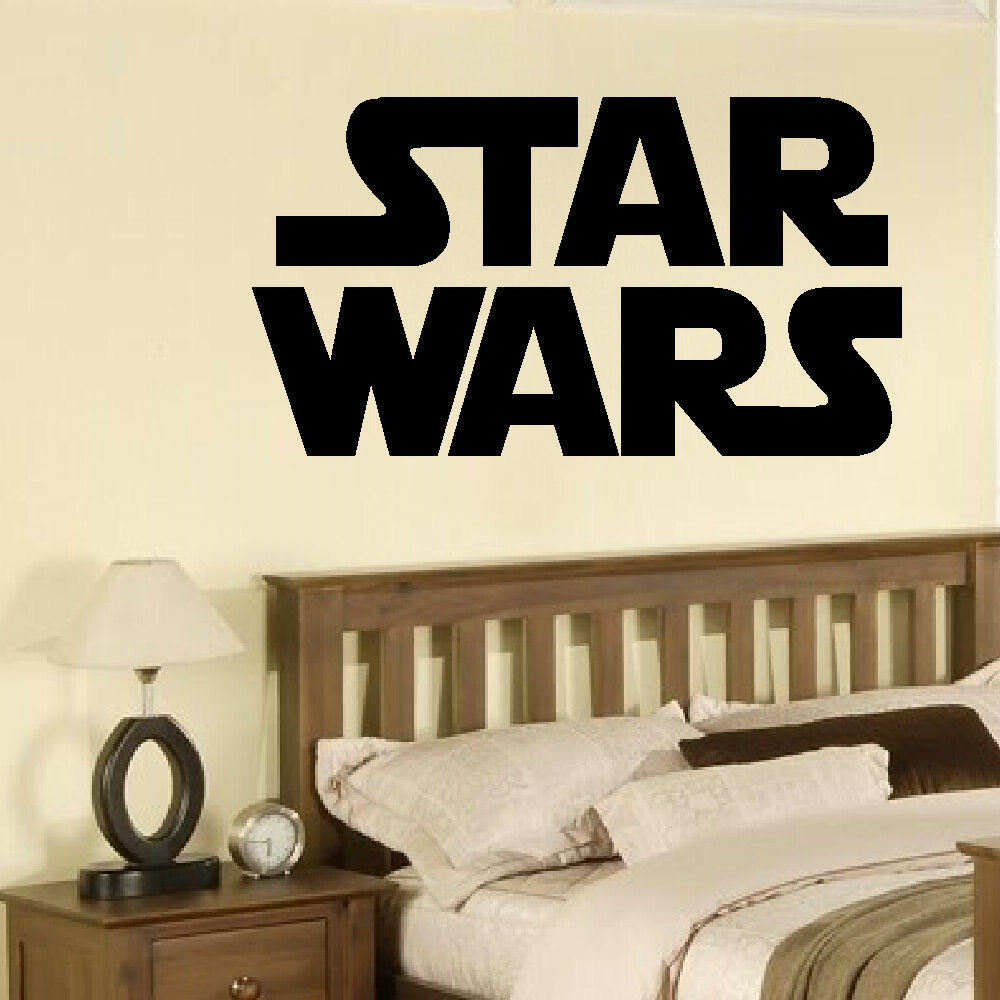 Star Wars Bedroom Accessories Uk Bedroom With Purple Accent Wall Bedroom Colours With Grey Neutral Bedroom Design Ideas: LARGE STAR WARS STARWARS LOGO CHILDRENS BEDROOM WALL MURAL
