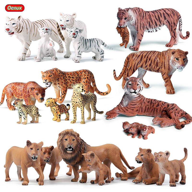 Oenux Original African Wild Animals Simulation Savage Tiger Lion Cheetah Wolf Action Figure Figurines PVC Model Educational Toys