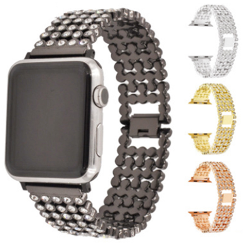 Applicable To For Apple Watch Strap Five-Piece Full Diamond Steel Belt For Iwatch Metal Stainless Steel Watch Strap