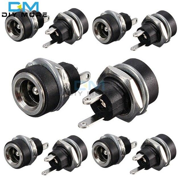 10 Pcs 3A 12 v Para fonte de Alimentação DC Jack Tomada Fêmea Conector do painel de Montagem 5.5mm 2.1mm Plug Adapter 2 Tipos de Terminais 5.5*2.1