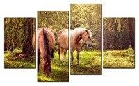 المبيعات الساخنة لا مؤطر 4 لوحة صورة غابة الحصان قماش طباعة الفن جدارية الفن الجملة XJDC12-122