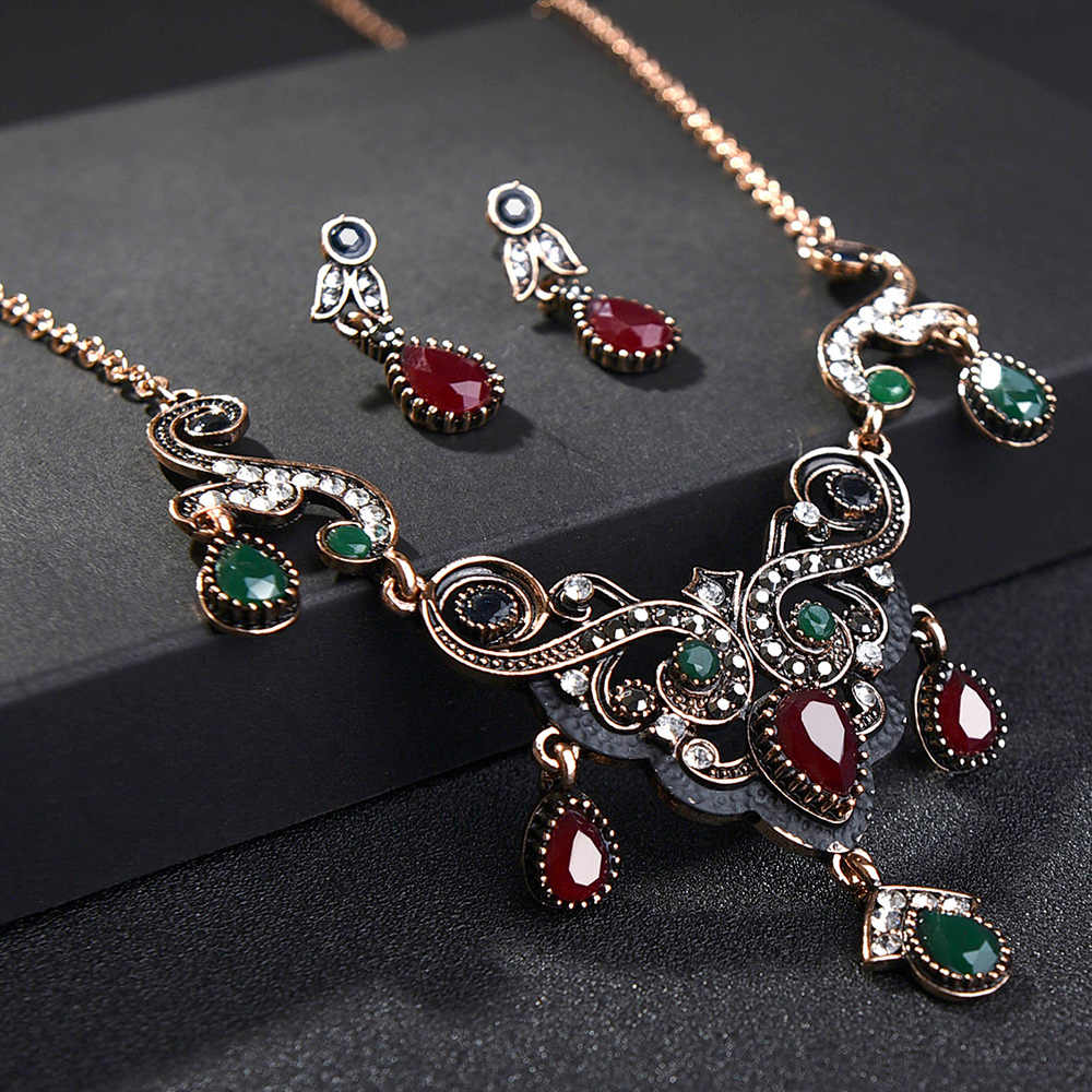 Turkish Vintage Red Crystal Jewelry Sets For Women Statement Necklace Earring Bangle Set Tassel Costume Wedding Jewelry