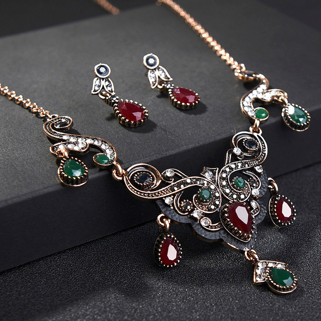 Turkish Vintage Red Crystal Jewelry Sets For Women Statement