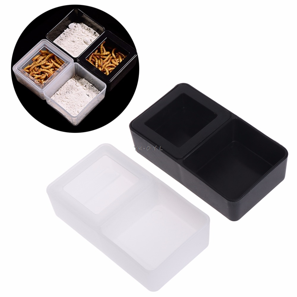Plastic Reptile Feeder Double Box Food Water Feeding Spider Basin Insect Turtle Breeding Repitiles Feeding Supplies