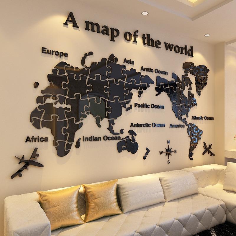 Carte du monde sticker mural 3d salon fond mur acrylique TV mur décoratif peinture chambre papier peint