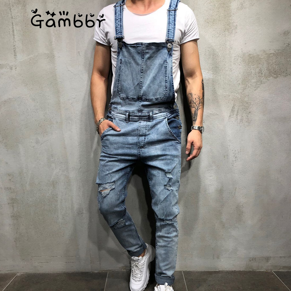 2019 Summer Casual Fashion Hole Men's Ripped Jeans Jumpsuits Hi Street Distressed Denim Bib Overalls For Man Suspender Pants