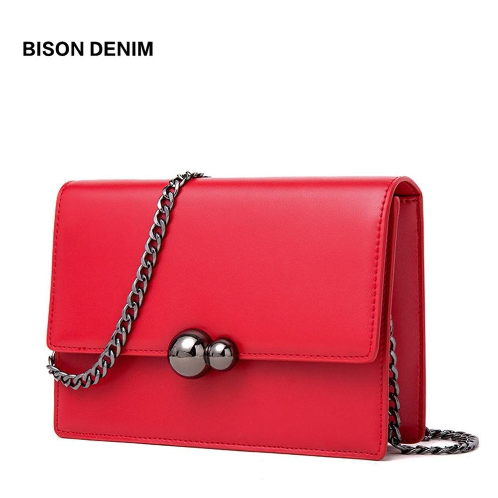 BISON DENIM Leather Bags for women 2018 Luxury Chain Shoulder Bag Round Lock Female Crossbody Bag