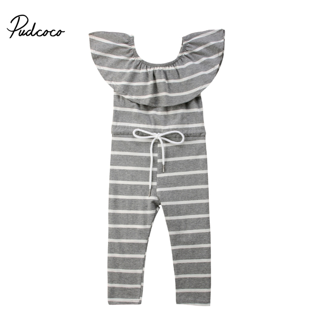 0b993e5665e 2018 Brand New Toddler Infant Child Kid Baby Girls Off Shoulder Romper  Striped Jumpsuit Ruffled Neck Sleeveless Outfits 1-6T