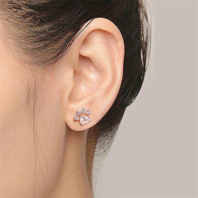 Rose Gold Dog Paw Print Earring
