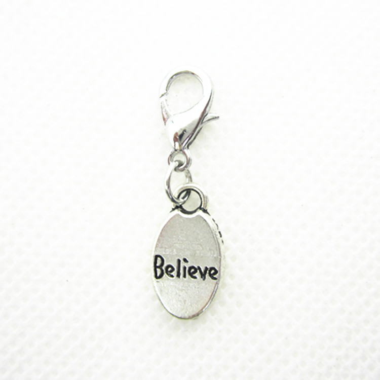 Wholesale 20pcs Lot Believe Dangle Charms Hanging Lobster Clasp