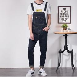 Xs-6xl British Feet Suspenders Jeans Men's Korean Version Of The Self-cultivation Wild One-piece Denim Trousers Couple Bib Pants