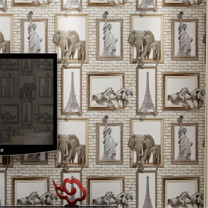 Beibehang 3d Wallpaper American Stereo Photo Frame Elephant Eiffel