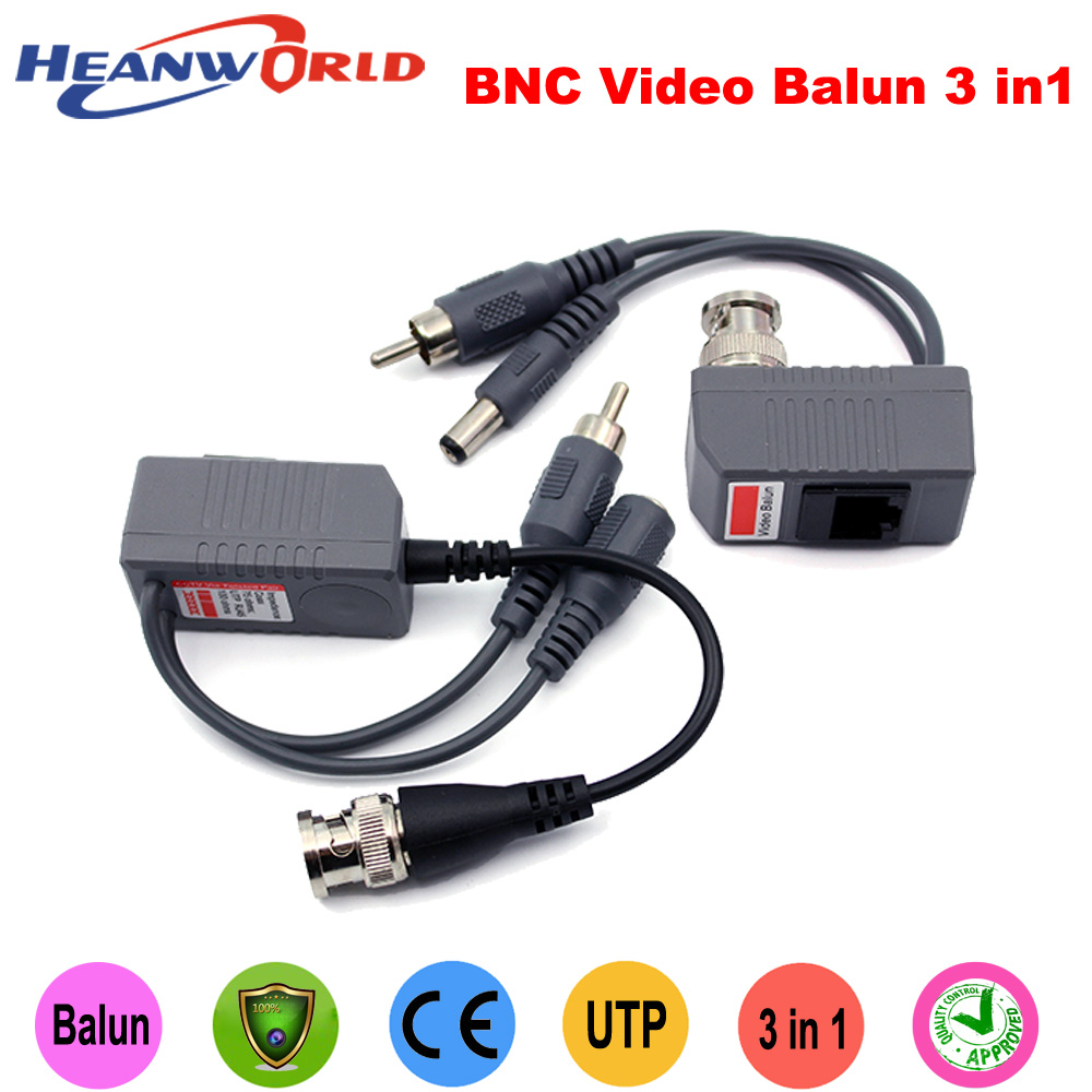 Hot CCTV BNC video Balun UTP Video Balun power Passive Balun Rj45,POE Power Video Audio 3 in 1 Transceivers CCTV spare parts single channel power video audio transceivers set cement grey