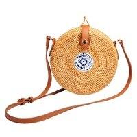 HOT Vintage Women Handmade Straw Bag Wooden Color Female Pastoral Style Rattan Shoulder Bag Cross Body
