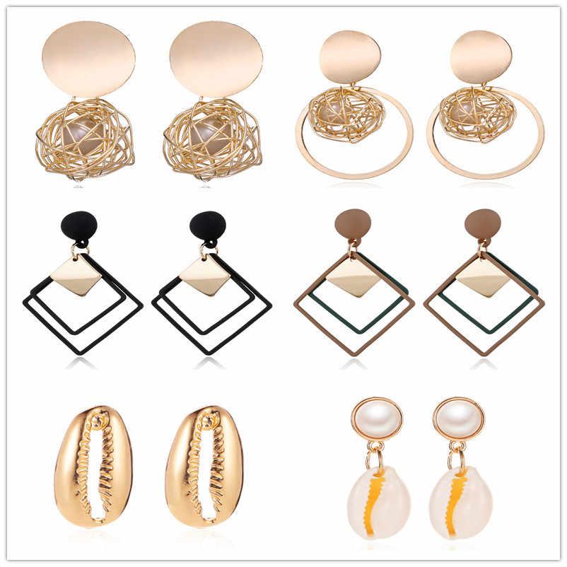 العصرية أقراط للنساء الذهب فريد المعادن قطرة استرخى أقراط بيان خمر القرط هندسية مستديرة 2019 مجوهرات الأزياء