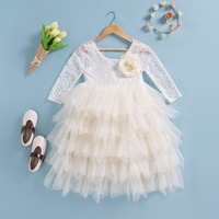 Everweekend Princess Baby Girls Tutu Cake Lace Party Dress Multi Color Cute Children Fashion Birthday Holiday Dresses