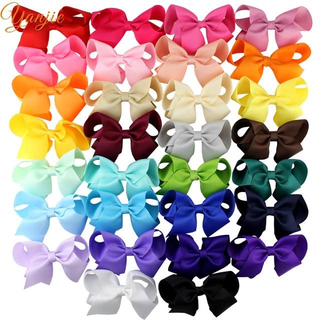 30pcs/lot 4 Grosgrain Ribbon Hair Bows Hair Clips For Girls 2020 Solid Hairpins Hair Bow Women Headwear Kids Hair Accessories