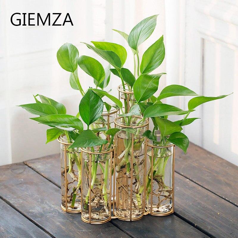 GIEMZA Test Tube Vase En Verre Tubes Transparent Table De Fer Vase D'or Tube Vases pour Succulentes Beauté Décor Romantique Nouvel Outil