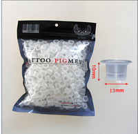 500pcs 13mm Medium Size Plastic Disposable Tattoo Ink Holder Cups Pigment Supplies Permanent Makeup