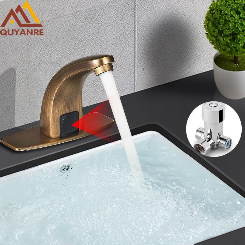 Quyanre Automatic Touchless Sensor Basin Faucet Handsfree Faucet Inductive Electric Plug Hot Cold Water Mixer Tap