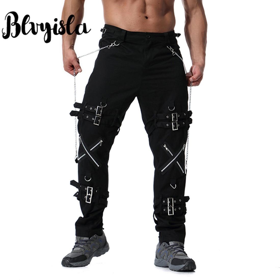 Blvyisla Chaîne En Métal Mâle Fermeture Éclair Loisirs Moto Pantalon Vintage Hommes Longue Plus La taille Hip Hop Pantalon