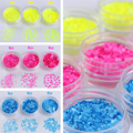 1 Box Fluorescent Nail Sequins Yellow/Rose Red/Blue Black/White Gold/Purple Round Glitter Tips Manicure Nail Art Decoration