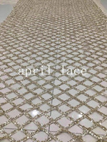 stock 5 yards new bzh031 # champagne gold grid glued glitter mesh tulle lace fabric for sawing bridal wedding dress